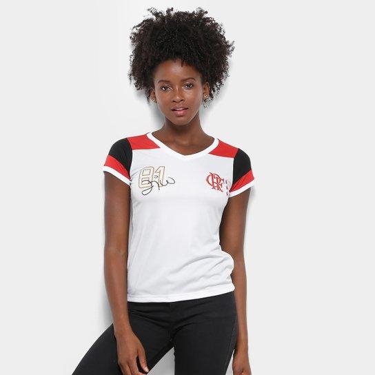 52407f45aa Camiseta Flamengo Zico nº 81 Retrô Feminina - Branco e Vermelho ...