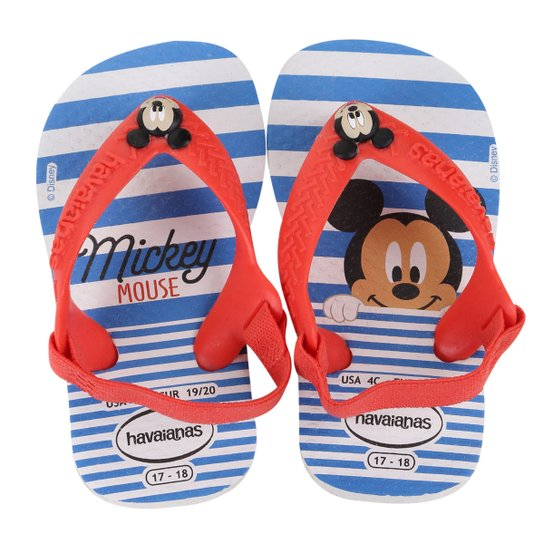 a5d849192 Sandália Infantil Havaianas New Baby Disney Classic - Branco+Vermelho