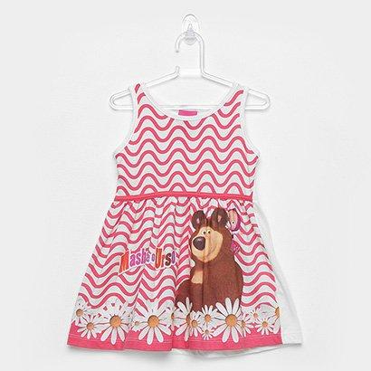 Vestido Infantil Kamylus Listrado Masha e o Urso