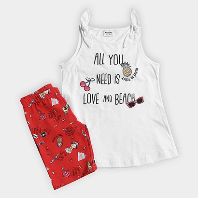 Conjunto Infantil Fakini Kids Love And Beach Feminino
