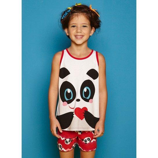 23fd46e1db Pijama Infantil Puket Curto Regata Abraço Panda Feminina - Branco+Vermelho