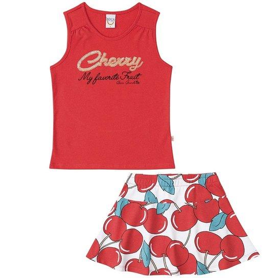 Conjunto Regata e Saia Shorts Infantil Feminino Boca Grande -  Branco+Vermelho 0340178bb1f7c
