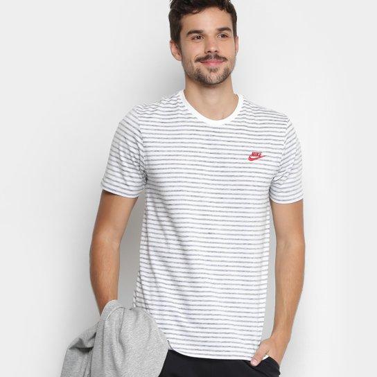 0ce135c01e Camiseta Nike M NSW Striped LBR 2 Masculina - Branco e Vermelho ...