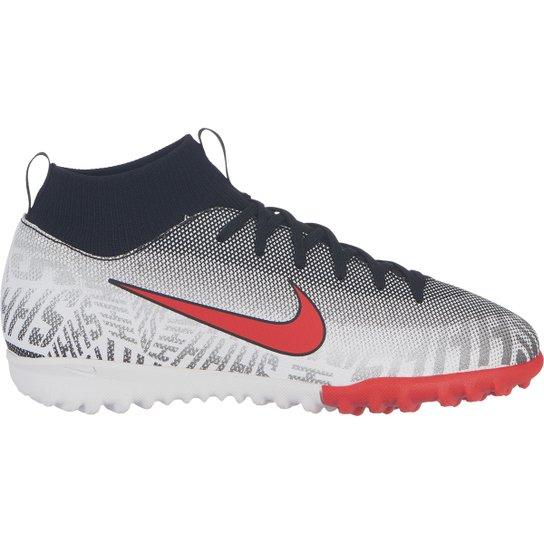 87f4495f0bd7d Chuteira Society Infantil Nike Mercurial Superfly 6 Academy Gs Neymar Jr TF  - Branco+Vermelho