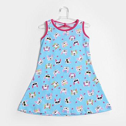 Vestido Infantil For Girl Curto Evasê Estampa Cachorro