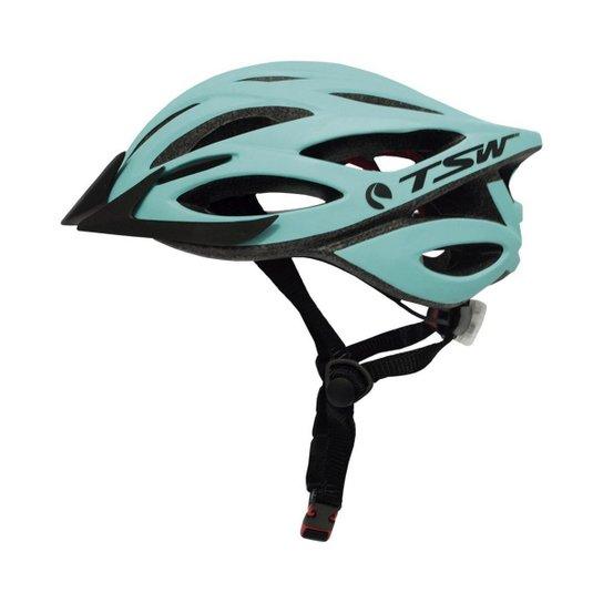 65a6dd59a Capacete ciclismo TSW MTB Plus com Led - Azul Turquesa