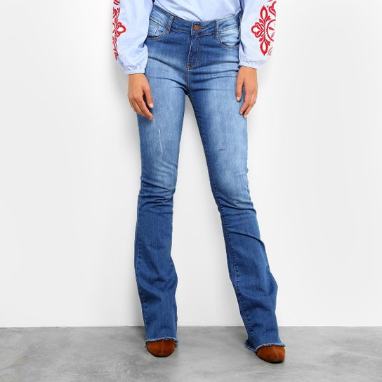 Calça Jeans Flare Mob Estonada Cintura Alta Feminina - Jeans ... 6901f0dfa5