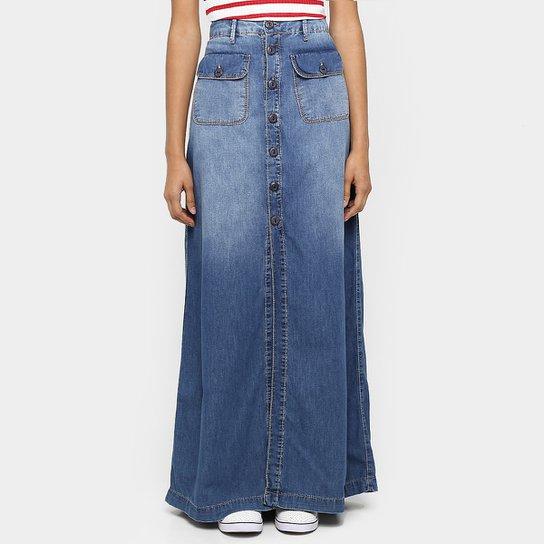 e08d8af428 Saia Jeans Coca-Cola Longa Botões Fenda - Jeans