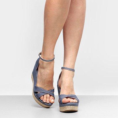 db0e6c6967 ... Sandália Anabela Griffe Detalhe Corda Jeans Feminina. Passe o mouse  para ver o Zoom