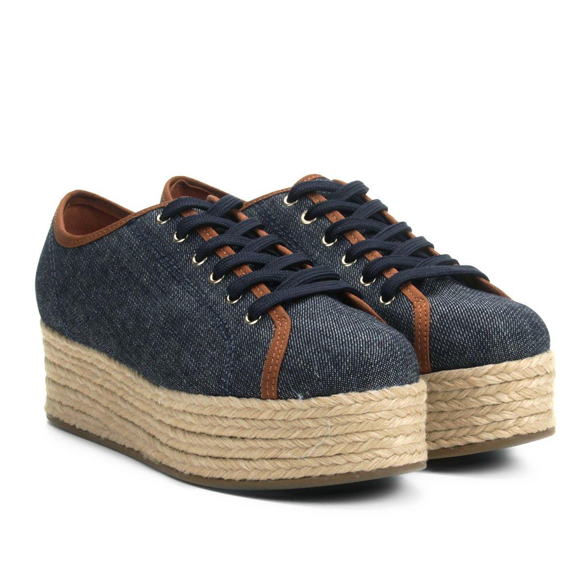 ce92211ce7f Tênis Bebecê Jeans Flatform Cordas Feminino