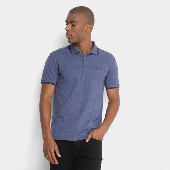 Camisa Polo Calvin Klein Slim Mescla Masculina - Azul - Compre Agora ... 688c89e4bee68