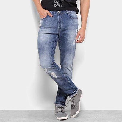 9bc8c22f8 Calça Jeans Skinny Cavalera Mário Estonada Destroyed Masculina