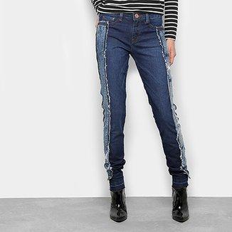 bef0bcdbc1 Calça Jeans Reta Carmim Upcycling Cintura Média Feminina
