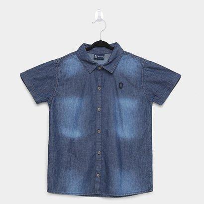 Camisa Jeans Infantil Manga Curta Quimby Estonada Masculina