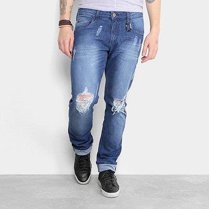 Calça Jeans Reta Triton Estonada Rasgos Puídos Masculina