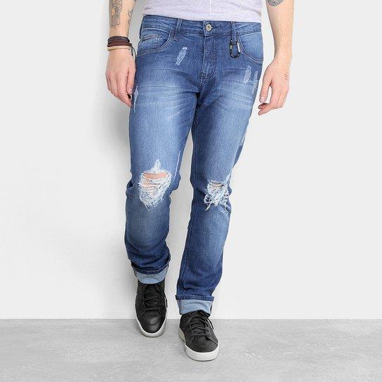 c948af7ab Calça Jeans Reta Triton Estonada Rasgos Puídos Masculina - Azul ...