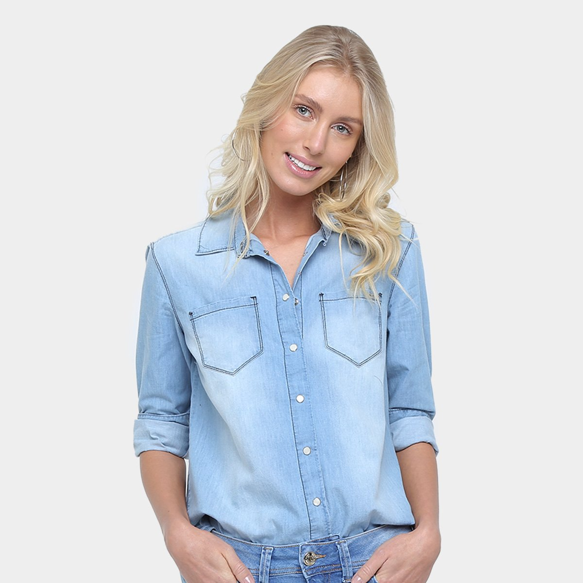 b87064cfcc Camisa Jeans Colcci Estonada Manga Longa Feminina | Opte+
