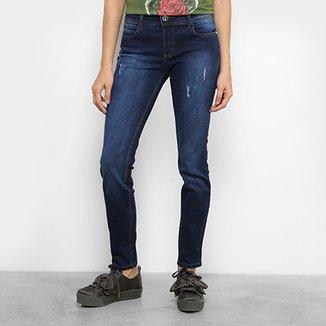 32186dcd2 Calça Jeans Skinny Colcci Fatima Lavagem Escura Puídos Cintura Média  Feminina