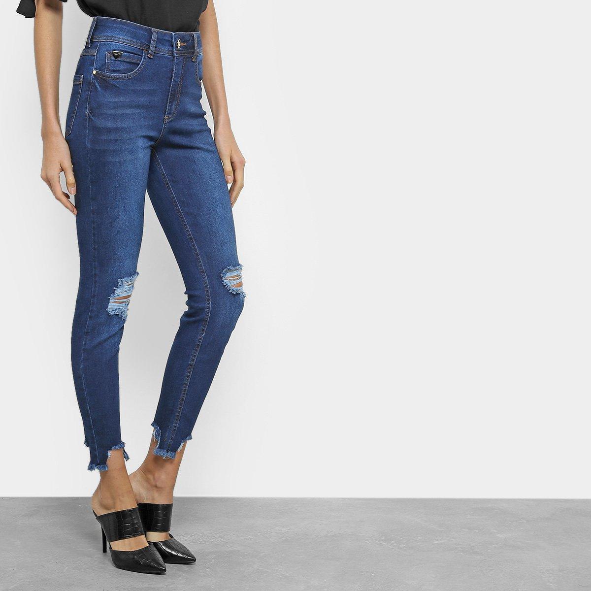 798542650 Calça Jeans Skinny Cropped Colcci Destroyed Cintura Média | Livelo ...