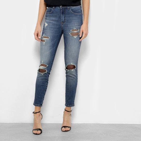 b3690e4ba Calça Jeans Colcci Cigarrete Bia Telinha Cintura Média Feminina - Azul  Escuro
