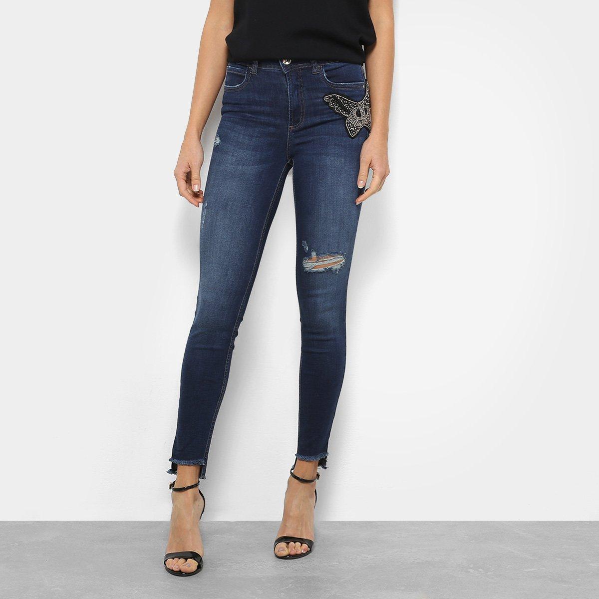 275014cb5 Calça Jeans Skinny Colcci Bia Bordada Manual Cintura Média Feminina