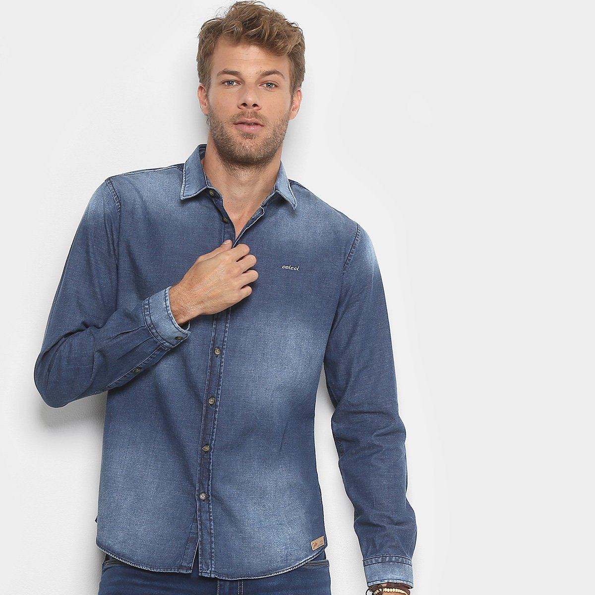 Camisa Jeans Slim Colcci Manga Longa Masculina. undefined bce83427e67