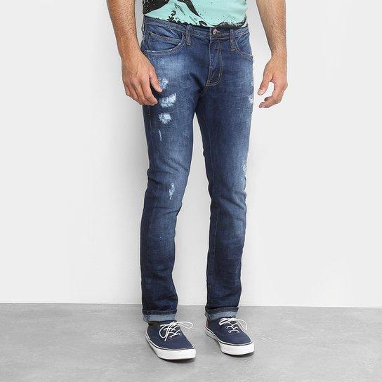 9aa883945 Calça Jeans Skinny Colcci Felipe Estonada Puídos Masculina - Azul Escuro