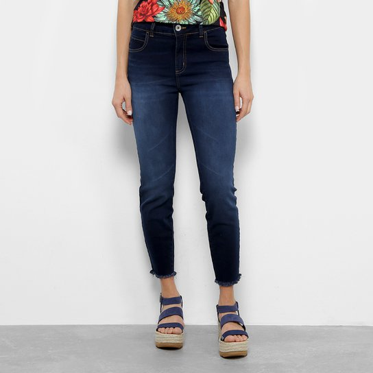 Calça Jeans Skinny Colcci Girlfriend Cintura Média Feminina - Azul Escuro 53fbce9d7f8