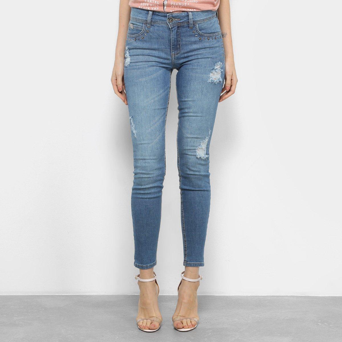 636c71cce Calça Jeans Skinny Colcci Fátima Aplicação Cintura Média Feminina