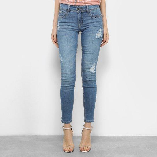 238332dd0 Calça Jeans Skinny Colcci Fátima Aplicação Cintura Média Feminina - Azul  Claro