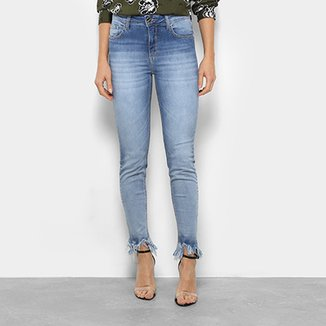 dd5e21bf8 Calça Jeans Skinny Forum Marisa Barra Desfiada Cintura Média Feminina