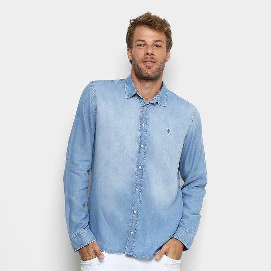 659406659d40f3 Camisa Jeans Forum Manga Longa Estonada Masculina - Azul Claro