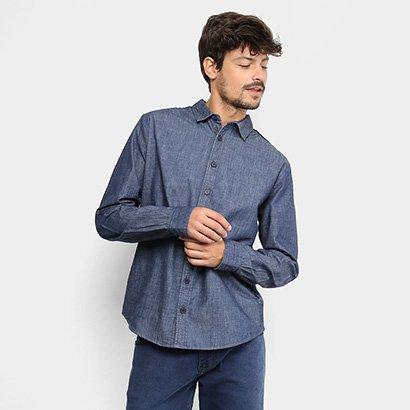 Camisa Jeans Manga Longa Forum Slim Fit Masculina