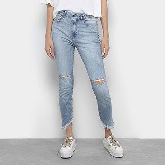 b26c352372045 Calça Jeans Cigarrete Cropped Ellus Destroyed Cintura Média Feminina