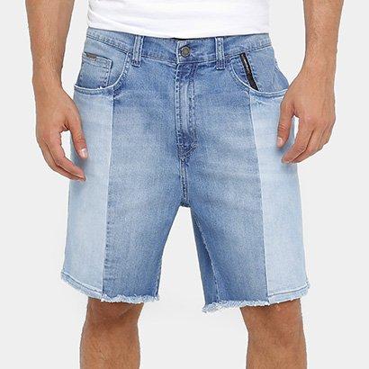 Bermuda Jeans Ellus 2nd Floor Recorte Denim Bicolor Masculina