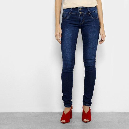 a074c6a0a Calça Jeans Skinny Sawary Dois Botões Cintura Baixa Feminina - Azul Escuro
