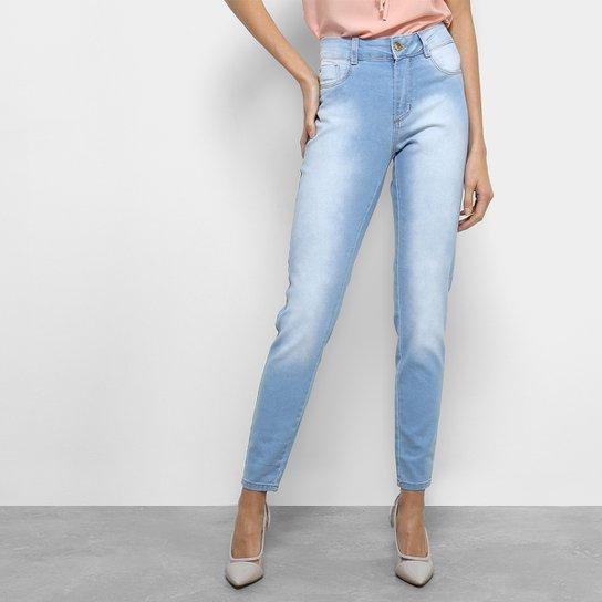 8ffcbb6ff5e024 Calça Jeans Cigarrete Sawary Cintura Média Feminina - Azul Claro ...