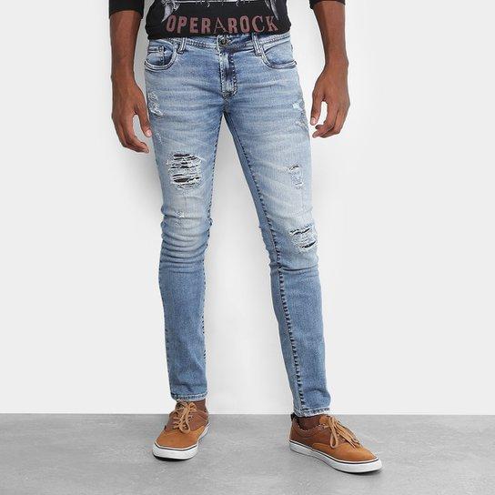 2e77707e4 Calça Jeans Skinny Opera Rock Destroyed Clara Masculina | Netshoes