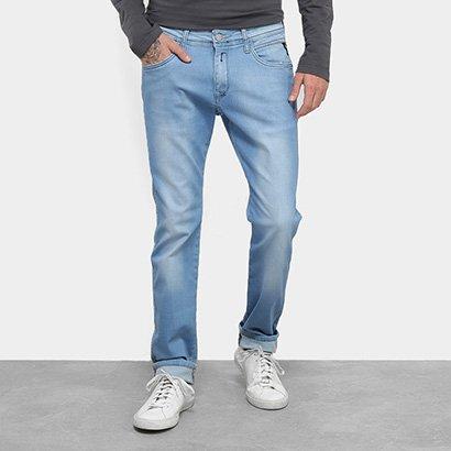 Calça Jeans Skinny Replay Estonada Cintura Média Masculina