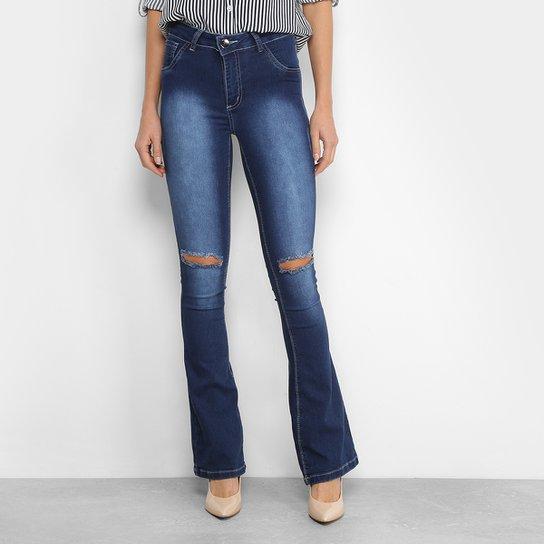 b4940294e Calça Jeans Flare Coffee Rasgo Cintura Alta Feminina | Netshoes