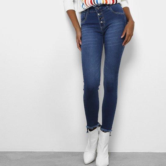 Calça Jeans Skinny Coffee Botões Cintura Alta Feminina - Azul Escuro f4b43e43d72