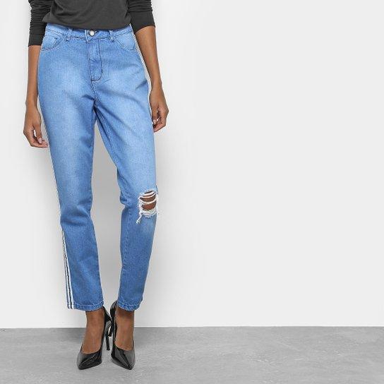e10bf40b5e5da Calça Jeans Mom Coffee Listras Laterais Cintura Alta Feminina - Jeans