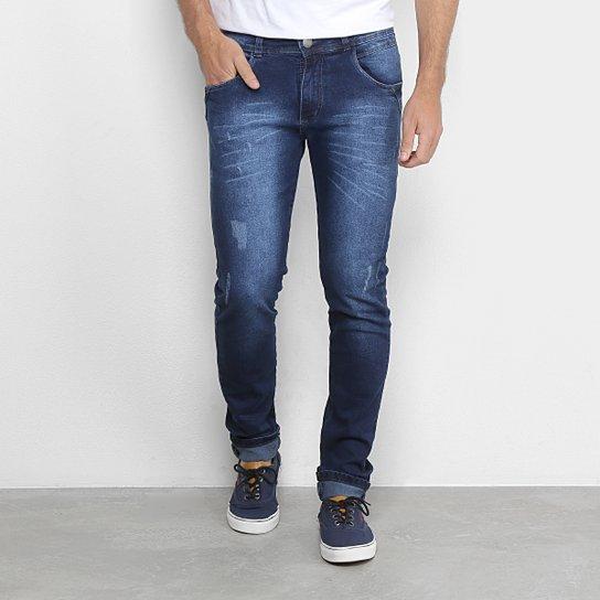 174874042 Calça Jeans Skinny Coffee Estonada Puídos Masculina - Azul | Netshoes