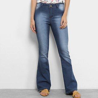 a57b48178 Calça Jeans Flare Coffee Estonada Cintura Alta Feminina