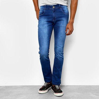 Calça Jeans Slim Coffee Used Puídos Masculina