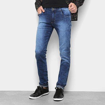 Calça Jeans Skinny Marmorizada Masculina