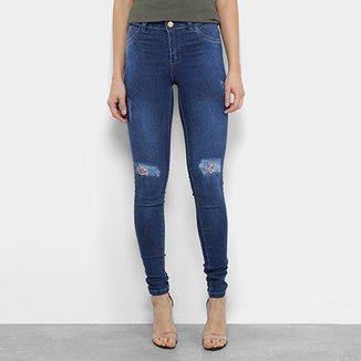 57c683cdb Calça Jeans Skinny Coffee Rasgos Cintura Média Feminina