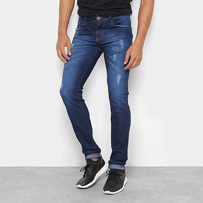 Calça Jeans Skinny Coffee Puídos Cintura Média Masculina