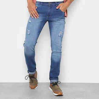 Calça Jeans Skinny Coffee com Puídos Masculina 686803aae2c