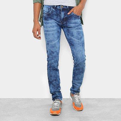 Calça Jeans Skinny Coffee Marmorizada Masculina